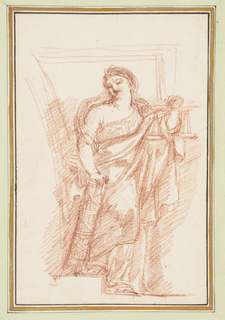 Allegorical figure of Justice. Robed woman, head bent slightly to right. Left arm up, bent at the elbow, and right arm down, hand resting on a fasces.