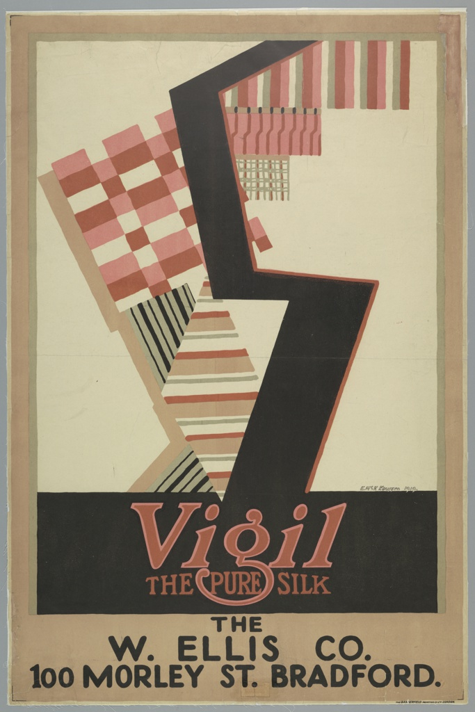 """Poster design for Vigil silk with the address of a specific department store. Abstracted composition with a large, black letter """"S"""" set against a patchwork ground of geometric patterns in oranges and reds. Below in red text: Vigil / THE PURE SILK. At bottom, in black, block lettering: THE / E. ELLIS CO. / 100 MORLEY ST. BRADFORD."""