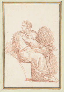 Seated male figure with a child on his lap. The figure extends his left arm and opens his hand, and looks over his right shoulder. The child faces the same direction and puts its left hand on the figure's right shoulder.