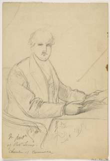 Drawing, Robert Lenox Seated at a Desk for the Chamber of Commerce Portrait, 1865