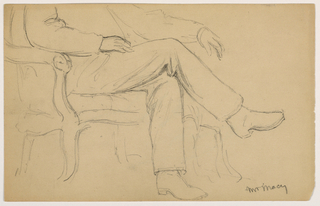 Drawing, William H. Macy Seated, Lower Body; Verso: Right Hand, 1884