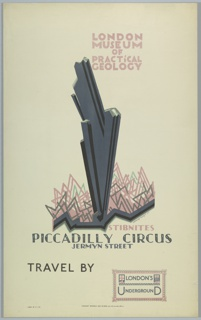"""Poster design for the London Underground, advertising the London Musuem of Practical Geology (which can be reached by the railway). At center, a black and grey jagged abstracted """"stibnite"""" rising out of a low jagged crystal-like form. Above, in pink and grey: LONDON / MUSEUM / OF / PRACTiCAL / GEOLOGY; below: STIBNITES / PICCADILLY CIRCUS / JERMYN STREET. At bottom: TRAVEL BY [a stamp of the London Underground]."""