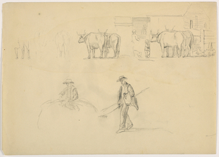 Drawing, Barnyard; Figures and Oxen, 1878