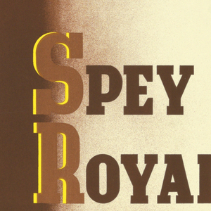 Poster advertisement for Gilbey's Spey Royal scotch wiskey. At center, a large bottle filled with yellow liquid on a brown background. Text in dark and light brown, upper left: GILBEY'S; lower left: GUARANTEED / TEN YEARS OLD; right side: SPEY / ROYAL / SCOTCH WHISKY / 12'6.