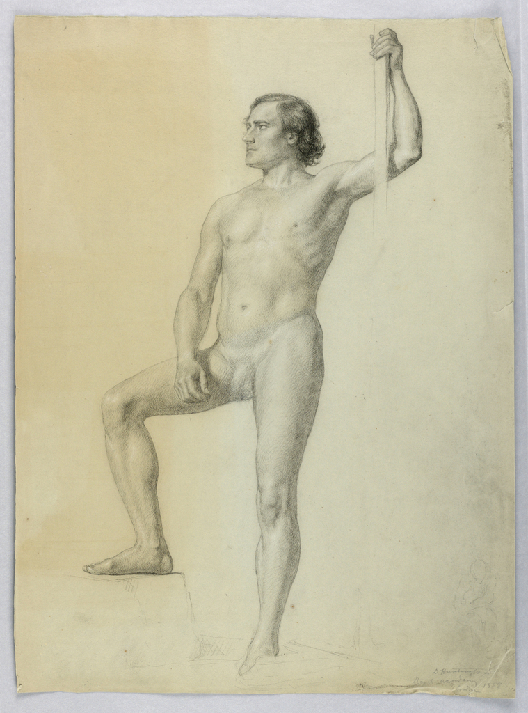Drawing, Male Nude with One Foot on a Step, 1858