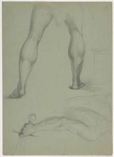 At top, legs of a man walking, from the rear. Drapery sketched about his hips. Below, oriented differently, back and right arm of a man holding a scimitar.