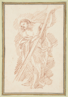 Christ standing and holding a tall support. His head is bent to the right, and He is barefoot.