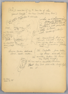 Head of man turned slightly to the left. Below, study of the left ear. Both surrounded by notes in English and Italian. Verso: Man standing with his left hand behind him. Face and legs not shown. Notes in English and Italian.