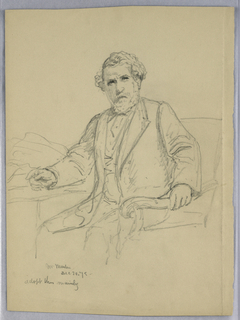 Man seated in an armchair by a table, his body turned slightly to the left and his left hand gripping the arm of a chair. Verso: A similar pose.