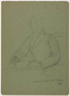 Man seated in an armchair at a table. A pen is in his right hand, in a writing position. The table is to the left. All in outline. Verso: Vertical proportional scale with notes.