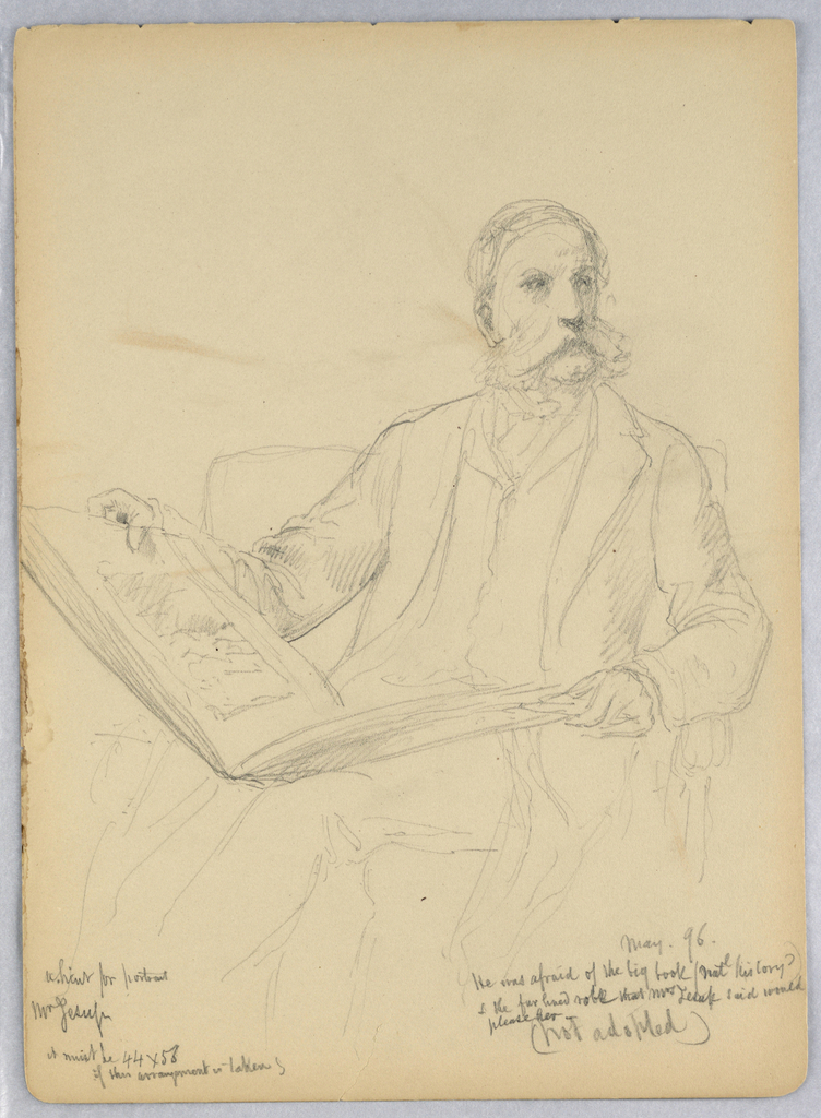 Recto: A man sits facing right with a large book in his lap. Verso: Man seated in a armchair facing left, papers in his right hand