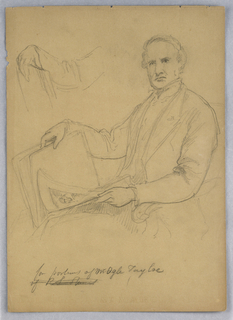 Man seated in an armchair, facing slightly toward the left. Book held in both hands open on his lap. Right arm repeated, upper left. Verso: Woman standing, with flowers in her left hand. She looks toward the right.