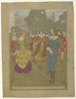 Figures in late Elizabethan dress are seen playing lawn tennis before a large country house. In the background, a group of observers.