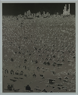 In gray and black, a city scene depicting an architectural skyline in the upper portion of the composition and a dense arrangement of houses throughout the rest. Most of the building facades in black, with the bulk of the structures blending into the gray ground. Printed in white ink, vertically, upper right: Cities are / Neighborhoods / Neighborhoods are / People / Conserve / The Neighborhoods; The image is a negative print from a photographic positive and gives the appearance of dissolution.