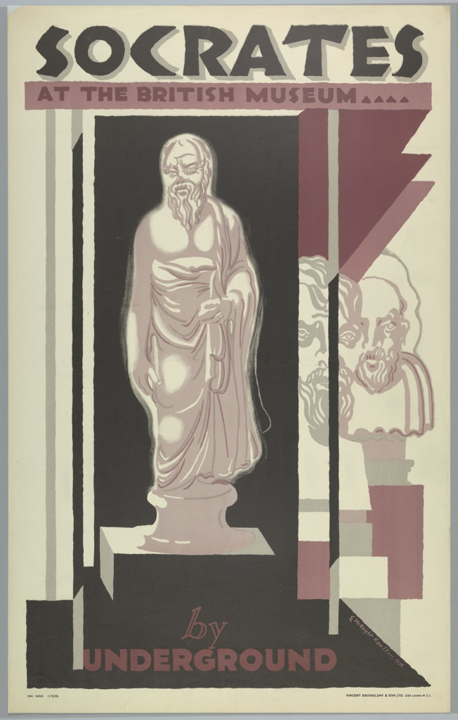 Poster design for the London Underground, advertising the British Museum which can be reached by the railway. At center, scupture of Socrates depicted inside a vitrine, against a black background with stylized purple planes. Behind, overlapping sculptural heads are visible on display. Text in black, upper center: SOCRATES / AT THE BRITISH MUSEUM; in purple, lower center: by / UNDERGROUND