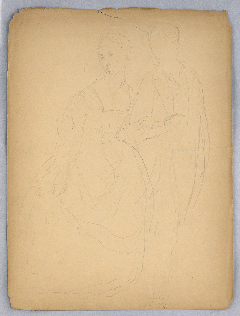 Recto: Sketch of a man and a woman, arm in arm, full length. Figures identified as Cortland DePeyster Field and Virginia Hamersley Field. Verso: Sketch of woman in profile, facing front