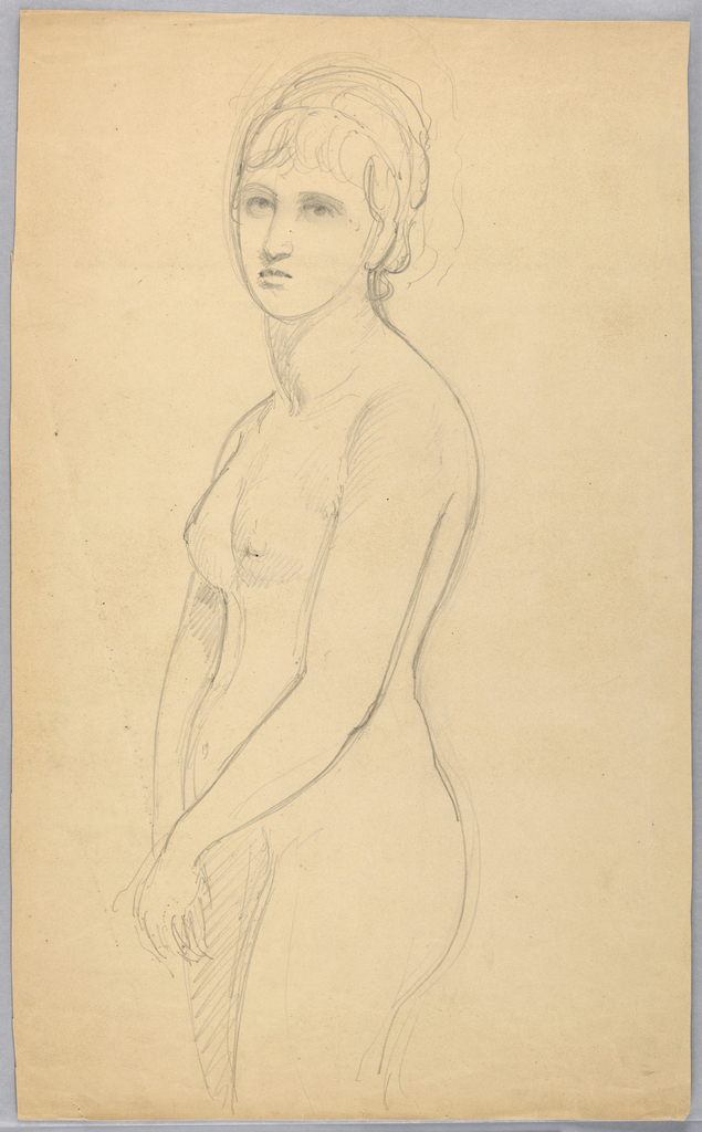 Standing female nude with the woman's body turned toward the left. She faces frontally, her arms down and hands together. Lower legs not shown.