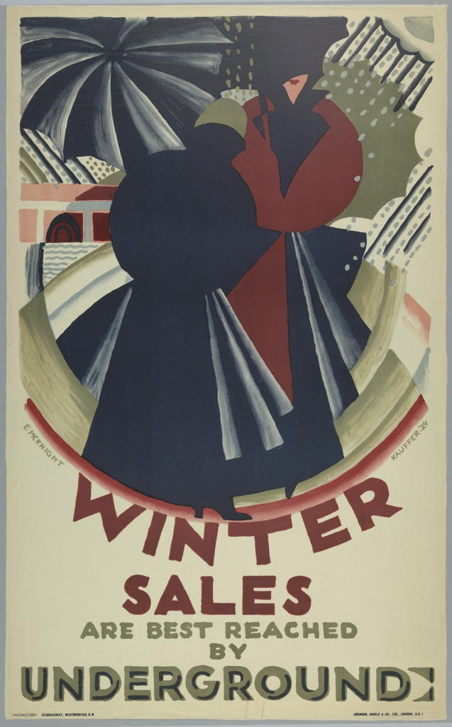 Poster design for the London Underground, advertising the shopping that can be reached by the railway. Two women with umbrellas in an abstract cityscape with falling rain. Text in burgundy and olive, lower center: WINTER / SALES / ARE BEST REACHED / BY / UNDERGROUND