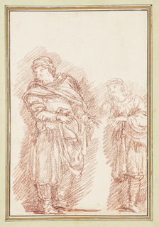 Two standing figures in Renaissance dress leaning to their right. Left figure is taller, arms point to the left.