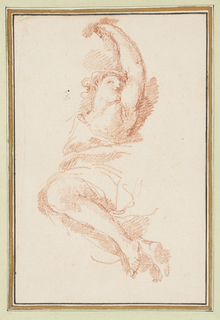 Ascending female figure, partially drawn. Proper left arm extended above head.