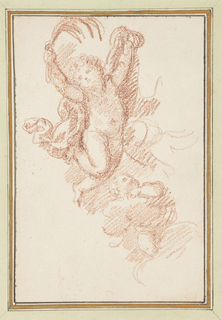 Two putti, one with bent leg and extended arms, the other below, only partially drawn.