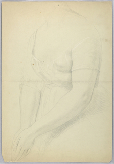 Woman turned toward the left with one shoulder covered by drapery. The palms of her hands together, lower left. Her head not shown, and lower part of the figure not shown.