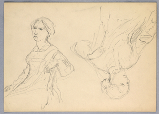 Drawing, Woman Seated, Two Studies, 1870