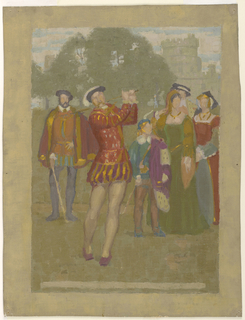 The Court of Henry VIII is seen watching the king play golf at Windsor. The castle is shown in the background.