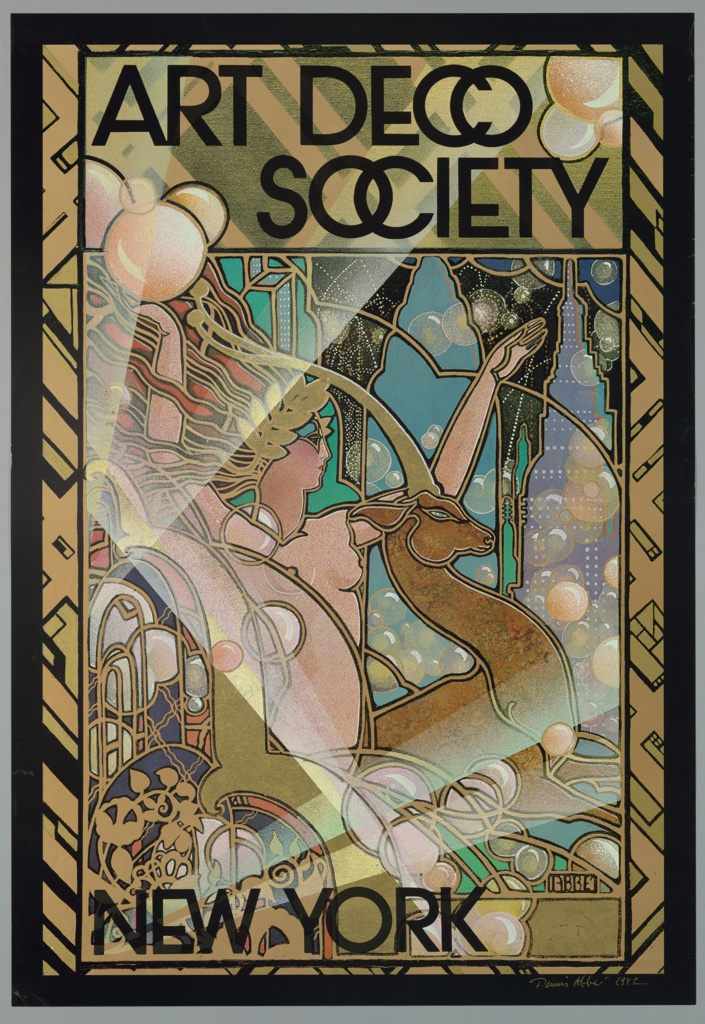 Poster for the Art Deco Society in New York City featuring a nude woman in profile with arms raised on the left and a gazelle in profile on the right. The woman wears a laurel wreath crown and has wavy red and gold hair. She is surrounded by circles of varying sizes and a background containing New York City buildings and a black sky filled with fireworks. Elaborate gold ornamentation appears in the lower left corner. The scene is surrounded by a gold and black border containing a geometric pattern. Printed in black ink, in a bold sans serif font, along the upper portion of the design: ART DECO SOCIETY; lower left: NEW YORK.