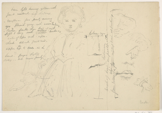 Drawing, The Child Hugh Baxter Standing, Hand and Lip Studies, 1865