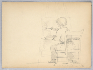 Young boy in a chair, back to viewer, painting a canvas on an easel, center, a palette in his left hand.