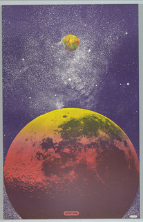 Vertical rectangle. Outer space view of a large planet at bottom and a smaller satellite or moon above, each in bright yellow, orange, and pink. Beyond, view of starry sky. Printed text at lower center and lower right.