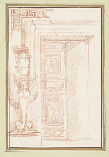 Drawing, Renaissance doorway with Egyptian vase