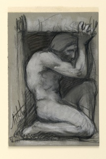 A crouching nude male figure seen in right profile, his arms raised over his head. Possibly a study for a relief.