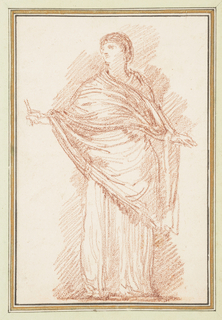 Standing figure with a shawl draped across her body. Her arms are held out and she holds something in her right hand.
