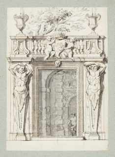 Vertical rectangle.   Recto: A garden doorway, flanked by atlantes and surmounted by a balustrade flanked by urn fountains and supporting an escutcheon held by putti with ducal arms. A figure seen through the door.   Verso: Two urns one developed into suite XI plate 9, and a section of a circular ceiling cove showing two putti holding a ribbon, possibly Inspired by the vault decorations of S. Carlo ai Catinari, Rome.  One sheet of paper drawn on recto and verso, mounted onto an album page with window cutout to see verso.