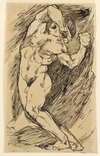 A standing male nude is seen turned one-quarter to the left, his body twisted in contrapposto, and shielding his eyes with his right forearm.