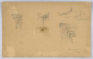 Top section of column, left. Roman capital, Lyon, center. Door frame, right.