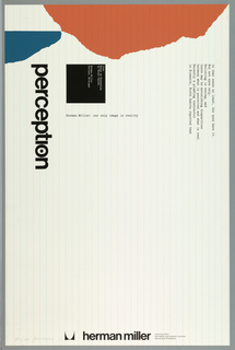 "On white ground with thin vertical blue lines resembling lined paper, an abstract blue form at upper left, a larger abstract orange form at top. Printed in black, vertically, at left: perception; the ""o"" with a small black square inside; additional printed text in typewriter-style font at upper right and within a black square at center left. Herman Miller company name and logo at lower center."