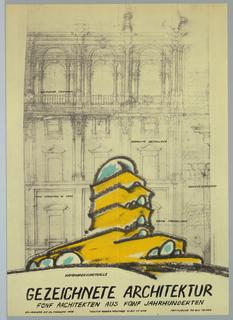 Poster, Hamberger Kunsthalle Gezeichhete Architektur, 1977
