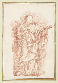 Standing figure in heavy robes holds left hand out, palm facing upward, and holds robes with right hand. A sketch of something indeterminate on his right shoulder.