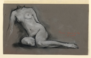 A seated female nude seen frontally, her left leg extended. Her right forearm and head not completed.