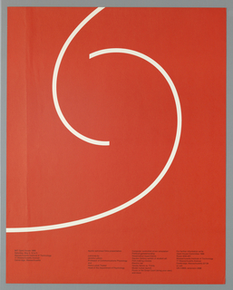Two white curved lines facing in opposite directions against a solid red background. Four small columns of black text across bottom of sheet.