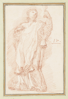Drawing after statue by Vicenzo Mariotti of St. Francis Borgia (de Borja) on the North Colonnade of St. Peter's. He wears a surplice and holds a cup aloft. He raises his right hand to his chest.
