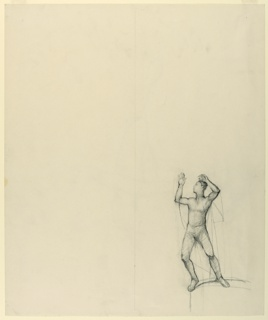 Verticle rectangle. Male figure with upraised arms at lower right.