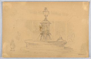 Round fountain in courtyard, with two children nearby. Left, small child stand, right child has left arm in water. Figures walking and standing in the background.
