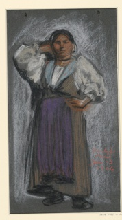 A standing peasant woman wearing a purple apron and full sleeves is seen frontally, her left hand on her hip, and her right hand behind her head.