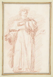 Drawing after statue by Nicola Artusi of St. Nicholas of Tolentino on North Colonnade of St. Peter's. He wears a friar's robe and rests his left hand to his chest. His right is held out and to his side.  A cross is suspended from his belt.