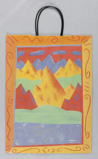 "Recto: multicolor mountains. Verso: Blue, red, yellow, with black print, featuring ""California, the New International Style."" Left side panel displays a detailed narrative about the State of California."