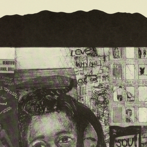 """Vertical rectangle. Profiled silhouette of African-American male figure. Within figure's face, several black and white collage drawings overlaid.  Images feature figures, city apartment buildings, and words, including FREE, SOUL Brother, Love, and ONE WAY. """"Black Revolution"""" is printed at bottom. Composite images form a rectangle over the profile."""